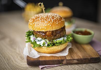 Burger d'agneau mangue et raita