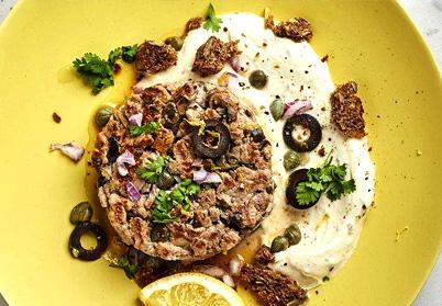 Tartare aller/retour de noisette d'agneau aux olives noires et aux câpres