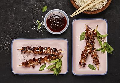 Petites brochettes Yakitori de tranche de gigot d'agneau
