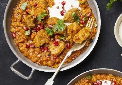 Curry d'agneau, coriandre et grenade